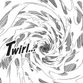 Vector Hand Drawn Comical Background - Whirlwind
