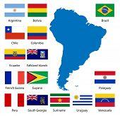 Bandeiras sul-americano detalhadas e mapa manualmente traçada a partir de dados de domínio público - também disponíveis em EP