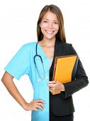 Career choice concept. Woman split half and half in businesswoman and medical doctor / nurse. Young