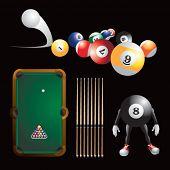 Bolas de billar, mesa de billar y palos y hombre de billar de dibujos animados