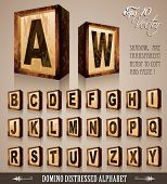 Vintage Domino Style Alphabet 3D with distressed antique look. Shadows are transparent so ready to be placed everywhere