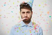Unhappy Birthday Guy With Stubble Feeling Sad And Disappointed Because Nobody Came To Celebrate His poster
