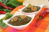 picture of paneer  - Indian Palak Paneer with mixed rice ginger and Asian spices on white background - JPG
