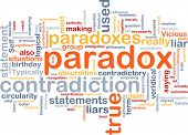 Background concept wordcloud illustration of Paradox contradiction