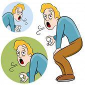 Uma imagem de um homem segurando um inalador de asma.