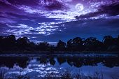 Sky With Many Star And Full Moon Above Silhouettes Of Trees And Lake. poster