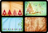 Grunge set of Christmas tree retro style cards with tree and swirls patterns on paper background, ea