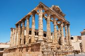 The Famous Roman Temple Of Diana In Merida, Province Of Badajoz, Extremadura, Spain . poster