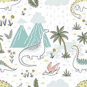 Doodle Dinosaur Pattern. Seamless Textile Dragon Print, Trendy Childish Fabric Background, Cartoon D poster