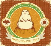 Groundhog Day.vector Label Background For Text With Grunge Texture