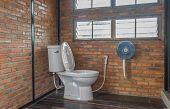 Flush Toilet In Country Loft Interior Design Room. Interior Design Toilet Room Include Flush Toilet  poster