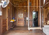 Rope Swing In Country Interior Design Room. Interior Design Room Include Fan And Refrigerator And Wa poster