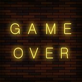Retro Glass Neon Game Over Sign On Solid Red Brick Wall Background. Gaming Concept. Video Game Scree poster