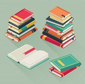 Flat Pile Books. Stacked Textbooks, Study Literature History School Library Education Teaching Many  poster