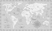 Gray World Map. Earth Antiquity Paper Map With Continents Ocean Sea Old Sailing Vector Globe Atlas B poster