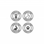 Cruelty Free Circle Label With Rabbit And Dog Paw Print. Cruelty Free Vector Sticker For Packaging. poster