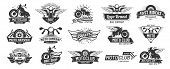 Motorcycle Badges. Bikers Club Emblems, Motorbike Custom Repair And Wheel Wings Badge. Retro Motorcy poster