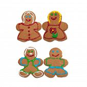 Two same sex couple gingerbread cookies isolated on white