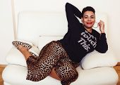 Pretty Stylish African American Big Mama Woman Well Dressed. Swag Relax At Home, Leopard Print On Cl poster