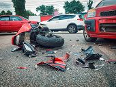 Motorcycle Bike Accident And Car Crash, Broken And Wrecked Moto On Road. poster