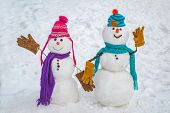 Two Snowman On Snow Background. Snowman Couple In Love Have Fun Christmas Or New Year. Happy New Yea poster