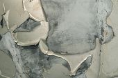 Top View ,car Paint Cracks , Cracked Painted Metal Surface Of A Green Car ,closeup Of Cracked And Pe poster