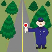 Policeman Is On Duty On Road