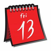 Sign Calendar, Friday 13 With A Shadow. Symbol. Red Calendar Icon Sign Calendar, Friday 13 With A Sh poster
