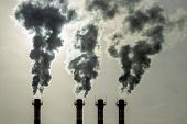 Emission Of Toxic Fumes From The Pipes Into The Atmosphere. Air Pollution Is An Environmental Proble poster