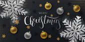 Christmas Greeting Card,  Web Banner, Vector  Black Background. Gold And Silver Christmas Ball, With poster