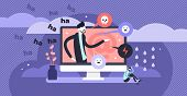 Cyber Bullying Vector Illustration. Flat Tiny Web Violence Persons Concept. Humiliation, Aggressive  poster