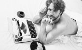 Lack Of Inspiration Or Idea. Creativity Crisis. Man Writer Lay Bed Bedclothes Working Book. Writer T poster