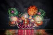 Pattaya International Fireworks Festival In Chonburi, Thailand. Variety Of Colorful Fireworks In Hol poster