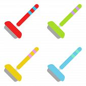Curling. Sticks Of Curling. Set Of Curling Stick. Stick Red, Blue, Green And Yellow Color. Sport Equ poster