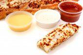 Pizza Sticks And Marinara Sauce, Garlic Sauce And Ranch Dressing poster