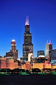 CHICAGO, IL - 1 de outubro: Willis tower close-up em 1 de outubro de 2011 em Chicago, Illinois. Willis Tower kno