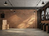 Loft Space Empty Room 3d Render,there Are Orange Brick Wall. With Concrete Floor And Ceiling The Wal poster