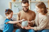 Family Savings, Budget Planning, Childrens Pocket Money. Family With Piggy Bank  . poster