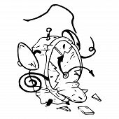 Broken Alarm Clock Icon. Vector Illustration Of A Cracked, Broken Alarm Clock. Broken Alarm Clock Ha poster