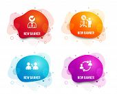 Liquid Badges. Set Of Communication, Vacancy And Discount Icons. User Communication Sign. Users Talk poster
