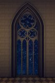 Gothic window with starry night