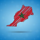 Scribble Map Of Morocco. Sketch Country Map For Infographic, Brochures And Presentations, Stylized S poster