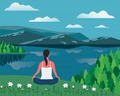Girl Exercising Yoga On Nature Flat Color Vector. Summer Nature Outdoors Relax Cartoon. Girl In Yoga poster