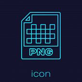 Turquoise Png File Document Icon. Download Png Button Line Icon Isolated On Blue Background. Png Fil poster