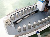 scuba diving air tank in boat