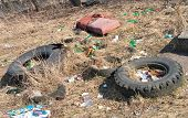 Illegal  Dumping Of Tires And Garbage
