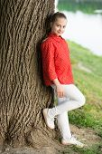 Beautiful Kid. Small Cute Kid With Beauty Look On Natural Landscape. Adorable Kid With Long Blond Ha poster