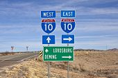 Interstate 10 sign in southern New Mexico's vast empty desert.