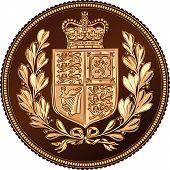 Reverso de vector de oro soberano dinero Monedo, British