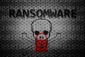 Ransomware Text With Lock And Skull On Textured Backgroun poster
